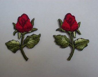 Mini Small Red Rose Patch - Embroidery Floral - Flower Iron on, Sew on Applique - Seaweed Green Leaf - Souvenir - 3 x 3.5 cm - 1 pair /F-315
