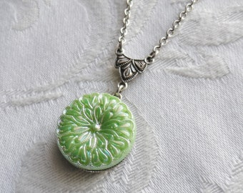 Vintage German Glass Button Necklace, Flower, Silver Ox, Green, Frosty Green, Lime