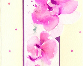 Handmade Orchid Card, Mother's Day card, Birthday Card, Original Art, Floral watercolour, Handpainted Bookmark, Bookmark and Card