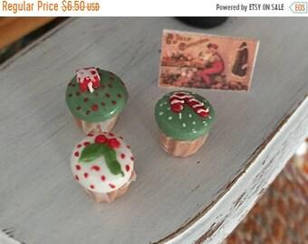 SALE Miniature Christmas Cupcakes, Set of 3, Style 2, Dollhouse Miniature, 1:12 Scale, Miniature Food, Mini Cupcakes, Dollhouse Food