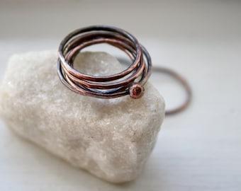 Slender Copper Stacking Rings, Rustic, Slim, Seamless, Boho Rings