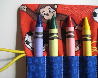 Crayon Roll Wallet Curious George Includes 8 Crayons Monkey Sports Theme