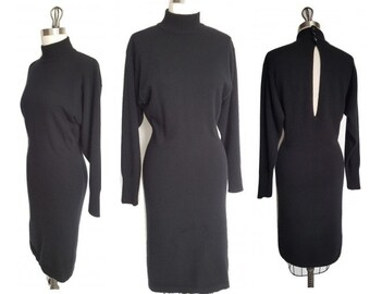 Black Cashmere Dress • Long Knit Black Sweater Dress • Size S - M
