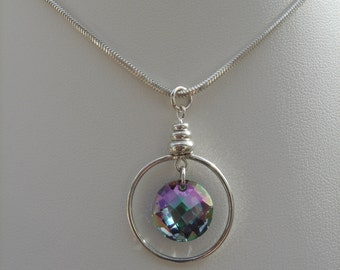 Silver necklace, Sterling Silver snake chain with sparkly crystal
