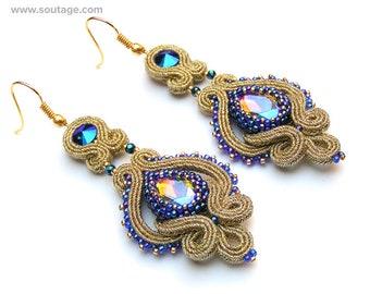 Lady in Gold-Blue Soutache earrings Blue earrings Gold earrings Victorian earrings Wedding earrings Bridal earrings Statement earrings