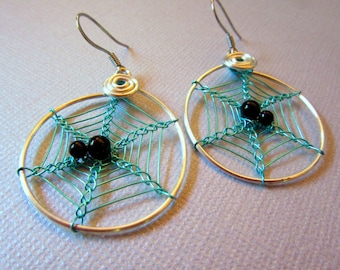 Spiderweb Earrings - Light Blue, Aqua Cobweb Hoops, Halloween Spider Earrings, Spider Web Jewelry, Wire Weave Spider Web, Arachnid Jewelry