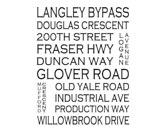 Langley B.C. - - Love This Place Street Name Art Print on Paper - Customize With Your Street - Vancouver Home Decor TheJitterbugShop
