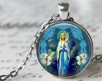 Our Lady of Lourdes Art Pendant, including 18 or 24 inch chain - Blessed Virgin Mary Necklace