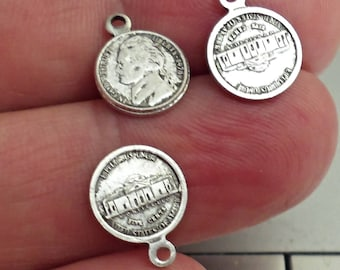 set of 12 dime USA Coin brass silver ox charms /2z