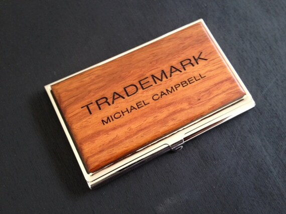 Personalized wood business card case idcard holder reheart Choice Image