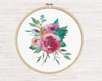Printable cross stitch pattern, PDF, instant download, pretty roses, flowers, floral