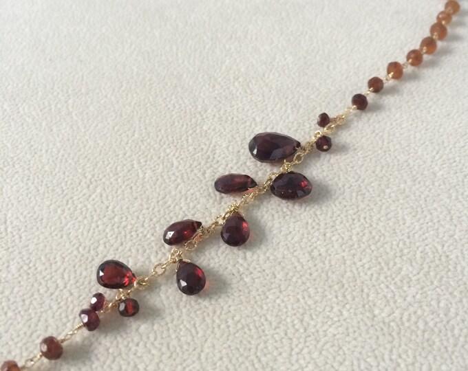 Semiprecious Red Garnet Gemstone Long Necklace in Gold Fill with Hessonite Garnet