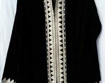 Stunning Bohemian Moroccan Velour Tunic Jacket with Nehru Collar Brown S M & L
