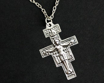 San Damiano Cross Necklace. San Damiano Crucifix Necklace. Catholic Necklace. Francis of Assisi Church Cross Necklace. Catholic Jewelry.