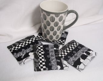 Black & White Fabric Coasters, Set of 4, Quilted, Reversible, Mug Rug, Drinks, Coffee