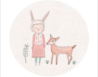 Art Print, Modern Nursery Art, Teen Room Decor, Modern Girls Room Art, Animal Wall Art, Deer Art, Reindeer Art, Teenage Girl Art