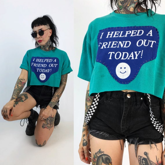 Hand Stitched Friendship Patched Cropped Pullover Sweatshirt Medium - Green Blue Casual Trendy Pullover DIY Tee With Recycled Patch Stitched
