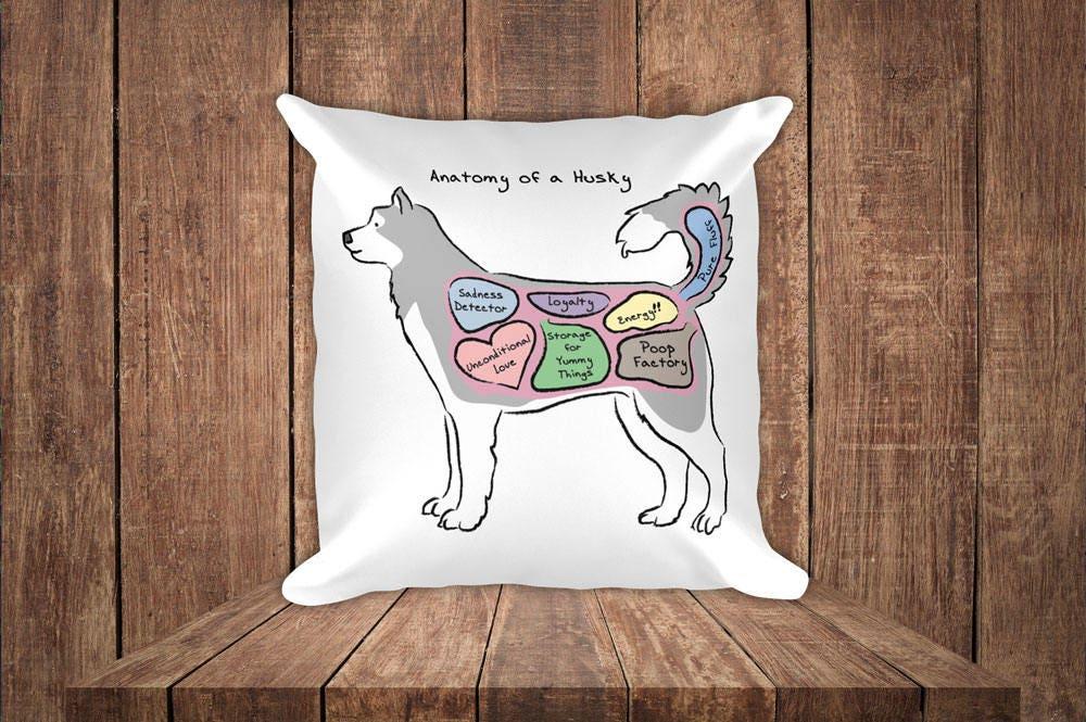 Anatomy of a Husky Funny Siberian Husky Square Pillow