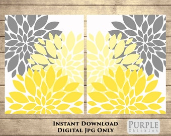 """Yellow Flower Bursts Blossoms Botanical Printable Art 2 8"""" x 10"""" Grey and Yellow Digital Modern Wall Art Set Home Decor Instant Download(49)"""