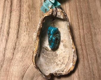 Organic ornament/ Beach ornament/ Gold rimmed oyster shell Christmas Ornament with turquoise accent and Gift Pouch