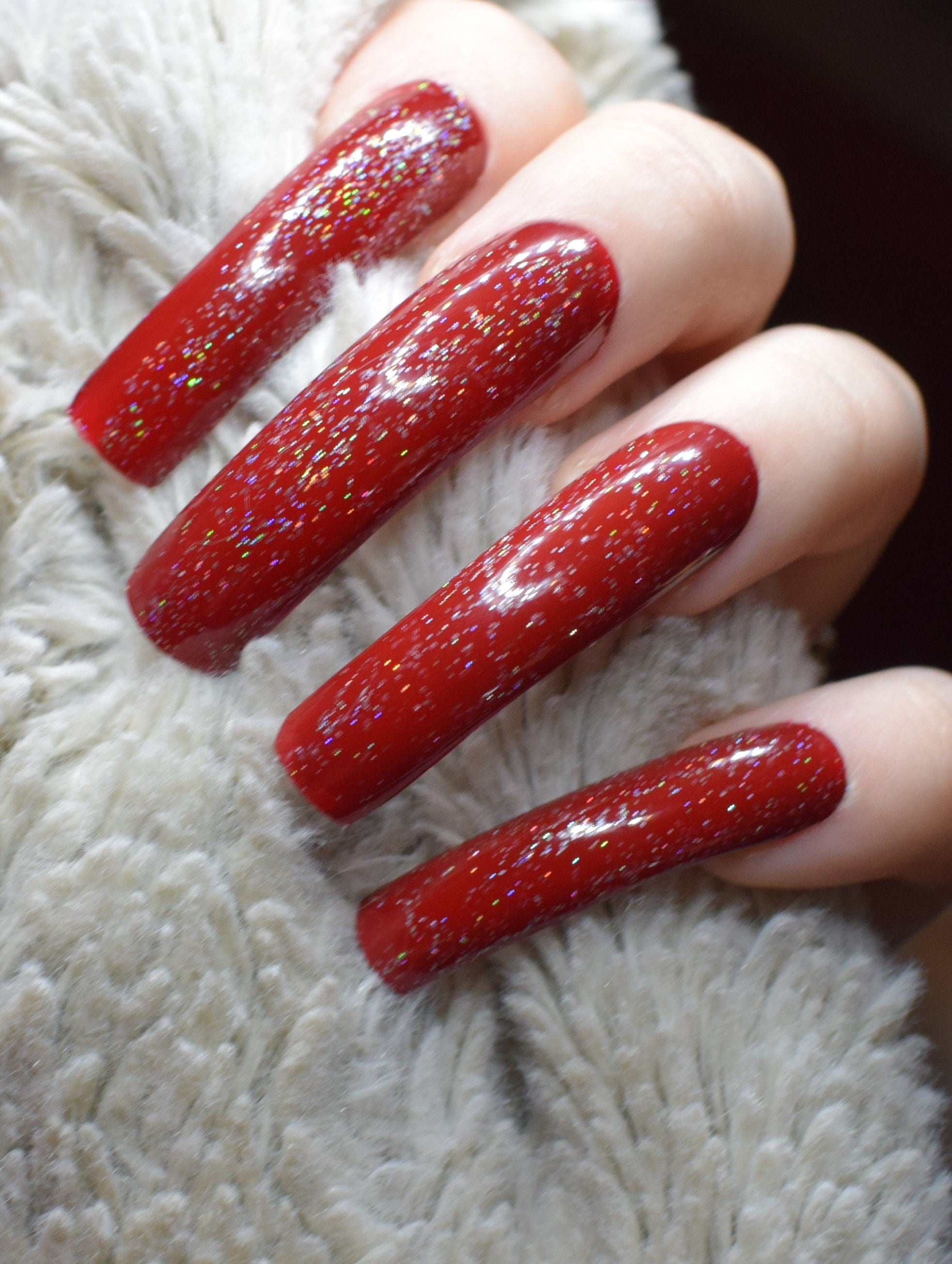 Red Holographic Fake Nails, Extra Long Curved False Nails, Hand ...