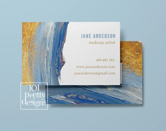 Watercolor business card design pastel printable business card design gold and navy business cards pinted busienss card gold blue makeup
