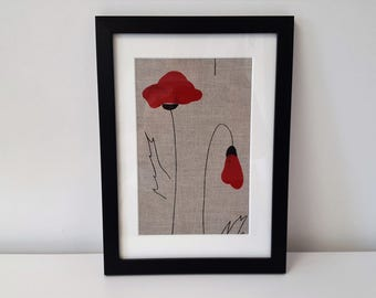 Textile Art Handmade Decorative Poppy Fabric Picture.