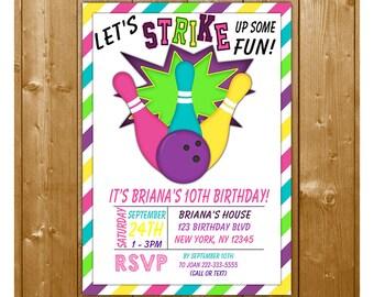 Bowling Invitation, Bowling Birthday Invitation, Girls Bowling Party Invitation, Bowling Birthday, STRIKE Invitation, Free Thank You Card
