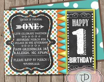 1st Birthday Party Invitation, Boy Birthday Invitation