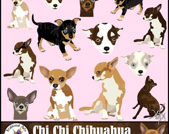 Chi Chi Chihuahua set 1 - 14 gorgeous full color dog clipart graphics - 8 huge Chihuahuas and 6 faces {Instant Download}