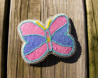 Native American style beaded butterfly barrette