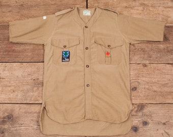 Women's Vintage Boy Scouts Of America 1950s Beige Cotton Shirt Size 8 XR 8529