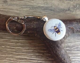 Bee keyring, bee keychain, bee charm, planner charm, handbag charm, book bag charm, bee gift, bee keeper gift, bee print
