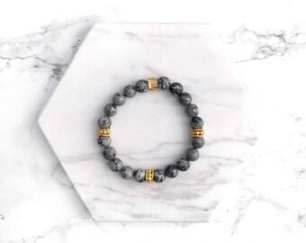 Grey Gemstone Bracelet, Beaded Stacking Bracelet, Gold Bracelet, Beaded Bracelet, Boho Bracelet, Gifts for her, Modern Stacking Bracelet,