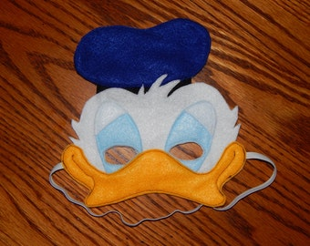 Inspired by Donald Duck Felt Mask - Costume Accessory - Any size available