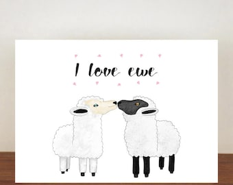 I Love Ewe Card, anniversary card, cards, greeting cards, love, valentines card, I Love You Card, Sheep, Sheep Card