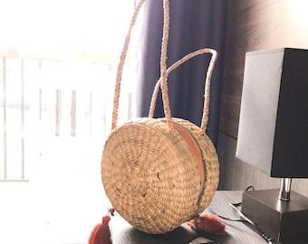Top handle bag • shoulder bag • Straw bag • Weaving seagrass(water hyacinth) • handmade with knitting strap • boho bag