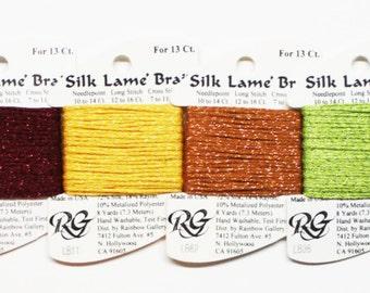 Silk Lame Braid 13 Ct 3.60 Each, Rainbow Gallery Silk Lame Braid, Metallic Yarns, Needlework Yarns, Needlepoint Threads, Silk Lame Braid 13