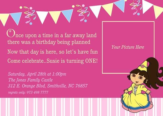 Dora birthday invitations diy print availprincess pink dora filmwisefo Choice Image