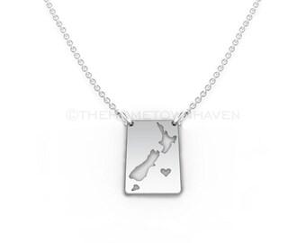New Zealand Necklace - New Zealand map necklace, I heart New Zealand