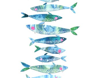 Archival Art Print - Blue Fish, Nautical Art, Sardines, Portugal, Bathroom Decor, Kitchen Decor, Blue, Beach Cottage, Collage, Collage Art