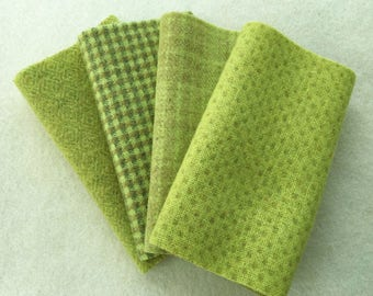 """Hand Dyed Felted Wool, WASABI, Fresh Green, Four 6.5"""" x 16"""" pieces for Rug Hooking, Applique and Crafts"""