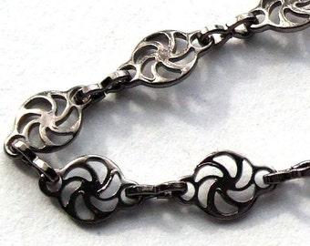 Gun Metal Silver Plated Spiral Chain- 3 feet