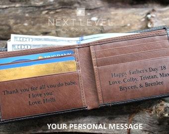 Bifold Leather Wallet for Men, Engraved Wallet for Men, Personalized Leather Wallet, RFID Wallet, Mens Wallet, Leather Wallets for Men