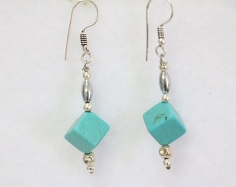 """Square Howlite Turquoise earrings **Tension reducing** Anxiety reducing** Calming** 1.5""""  E-1074"""