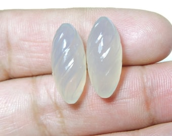 2 Pieces Beautiful Natural Grey Chalcedony Hand Carved Rice Drops Shaped Loose Gemstone Size 21X9 MM