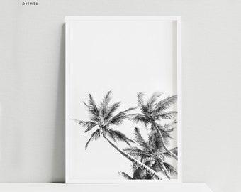 Palm tree minimalist, palm print, black and white palm tree, palm prints, tropical poster, tropical prints, noir et blanc, affiche palmier