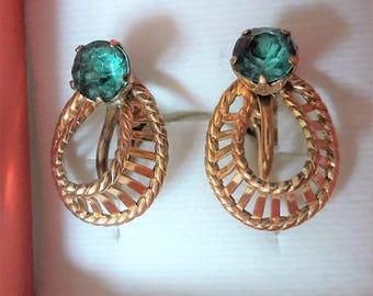 Vintage Van dell 12kt gold filled blue gemstone screw back earrings