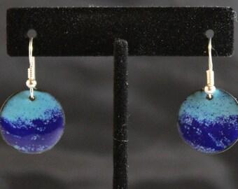 Blue on Blue Petite Enameled Earrings (022017-027)