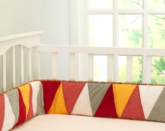 Ring-A-Ling (Big Top) Full Crib Bumper | Gender Neutral | Red Yellow Orange Bunting Crib Bedding
